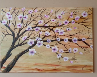 Cherry Blossom In Japan Acrylic landscape Painting  Wall Art Home Décor White-Pink Flowers