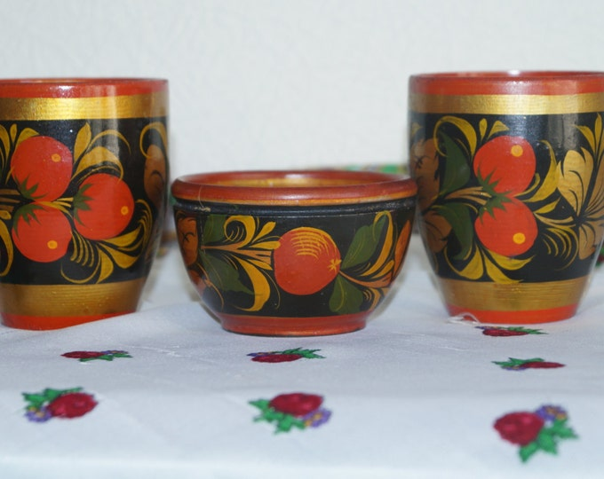 Russian vintage, wooden cups, Khokhloma painting