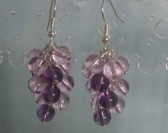 Pink and Purple Glass Bead Cluster Earrings.