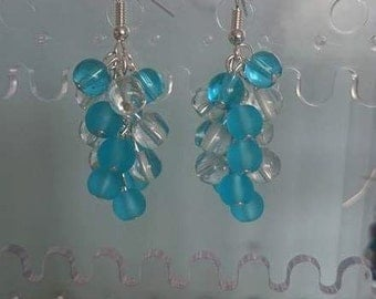 Light Blue and Clear Glass Bead Cluster Earrings