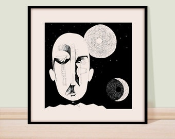 Pen and ink drawing, Black and white, Modern art, Black ink wall art, Giclee print, Surreal art, drawing, figure drawing, Child with a kite.