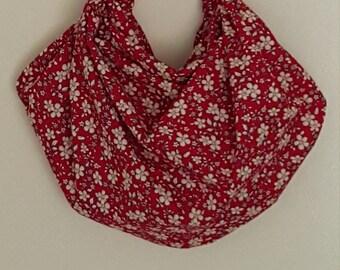 Furoshiki Hobo Bag - Red and Ivory Flowers
