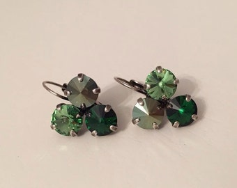 Trio Cluster of Swarovski Crystal Shades of Green and Blue Earrings