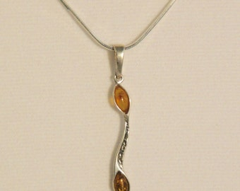 Baltic Amber 2 stone Pendant set in 925 sterling silver