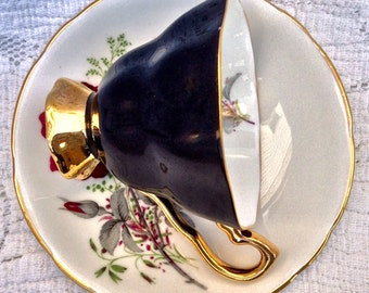 Dramatic Royal Stafford Pedestal Teacup and Saucer
