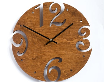 Large Wall Clock, Unique clock, Modern Clock, Wooden Wall Clock, Gift clock, Brown Wall Clock, Walnut wood clock