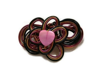 handcrafted heart transparent pink, black and gold, Pearl brooch