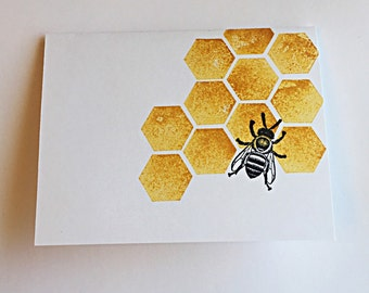 Set of 5 Honeycomb Bee Cards with envelopes, Greeting Cards, Stationery