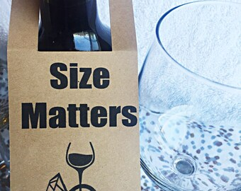Size Matters Wine Tag, Wedding Tag, Bachelorette Tag, Party Tag