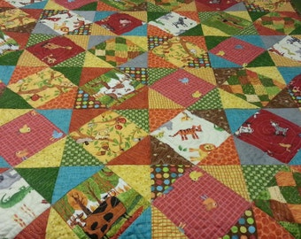 baby quilt with an animal theme