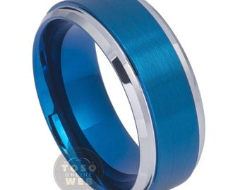 Men's 9mm Stepped/Beveled Edge High Polish with Blue Ion Plated and Brushed Center Tungsten Carbide Wedding Band TS6930
