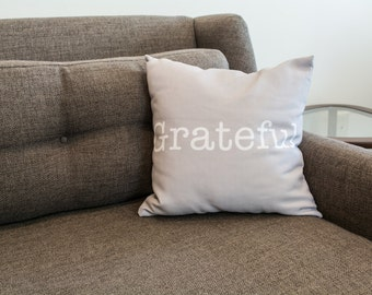 Grateful Grey Word Pillow