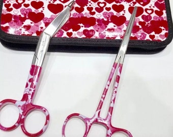 Hemostats and Bandage Scissors with Matching Case Beautiful Colorful Pink and White Heart Pattern!
