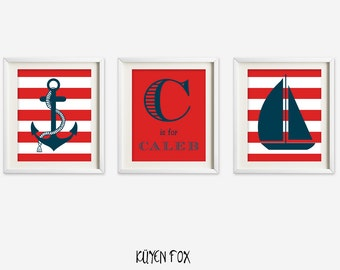 Red nautical wall art - nautical nursery art - kids wall art - Nursery Decor - name wall decor - boyl room decor - boat print art