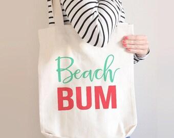 Beach Bum Tote Bag, Beach Tote Bag, Personalized Tote Bag, Custom Tote Bag, Beach Bag, Vacation Bag, Honeymoon Tote Bag, Summer Tote, Large