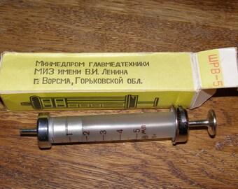 Soviet medical syringe ussr vintage hypodermic injector, Soviet Vintage laboratory Glass, squirt, hypodermic