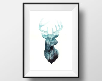 Deer Painting Etsy