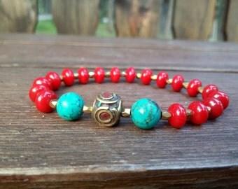 Yoga bracelet Tibetan Turquoise bracelet Red Coral Wrist Mala bracelet Unisex Brass bracelet Red coral Mens bracelet Meditation bracelet