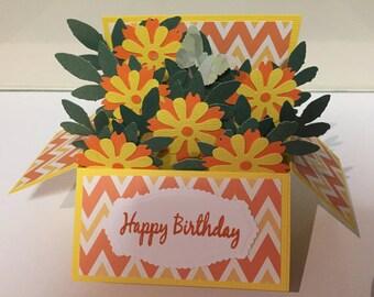 Handmade Birthday card,Flower's in a box