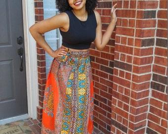 African skirt, African wrap skirt, Ankara skirt, Ankara wrap skirt, African print maxi skirt,  Wrap skirt, red wrap skirt, African wax