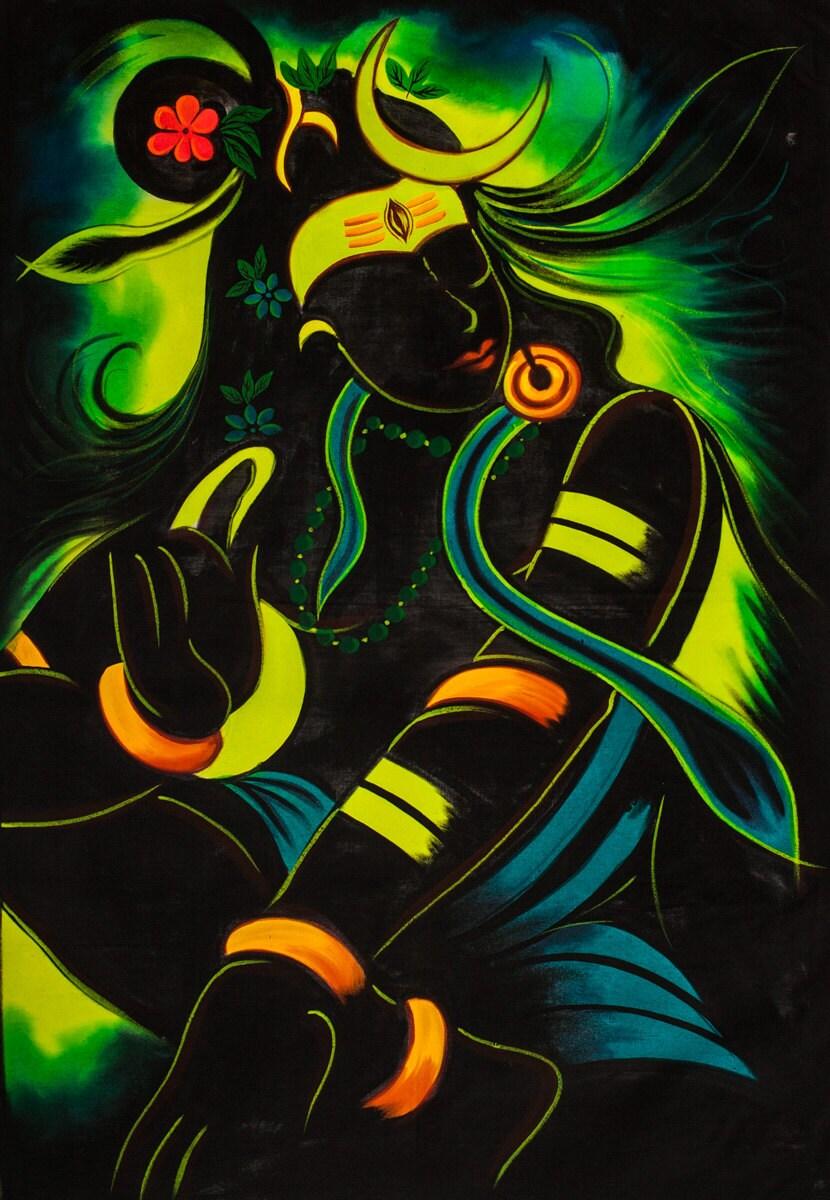 BEAUTIFUL NIGHT SHIVA Psychedelic Art Hand Painted Uv Handmade