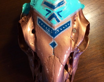 Hand Painted Deer Skull - Tribal/Southwest Design