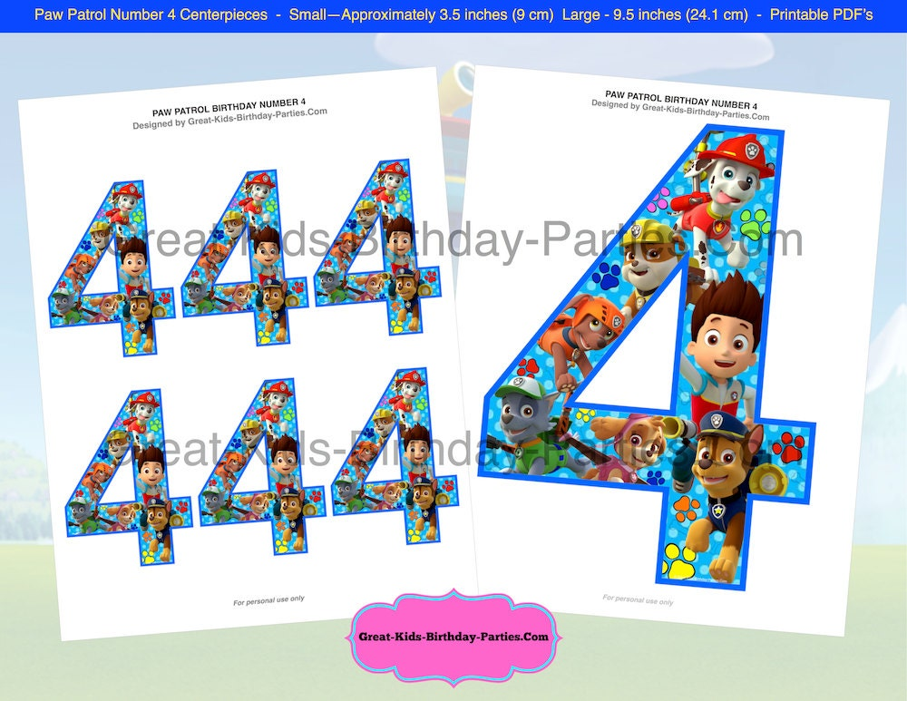 Paw patrol birthday centerpiece number 4 paw patrol party for Number 4 decorations