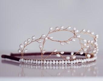 Freshwater Pearl Bridal Hairband, Enya