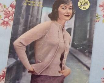 Vintage original Marriner's Twin Set knitting pattern dated 1960