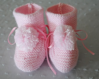 Hand Knitted Pale  Pink Baby Booties with Pom Pom