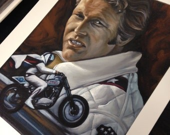 Evil Knievel - Fine quality print, signed and numbered by James McGrory