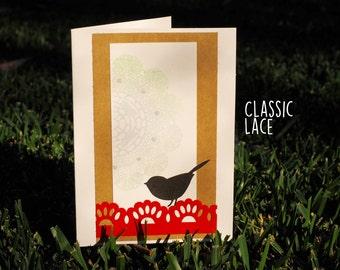 Orange Aqua Bird- Handmade Greeting Card