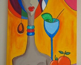 "Table ""AFRIKA"" acrylic paintings"