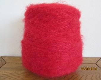 Cherry Red Mohair Yarn Mohair/Wool/Nylon 78/13/9 500g Cone