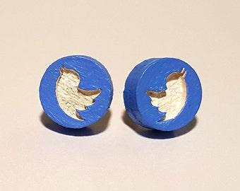 Twitter Bird Colored Earrings
