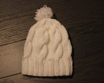 Knitted Baby Wool Hat- White
