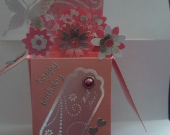 Pop up box birthday card with pink flowers