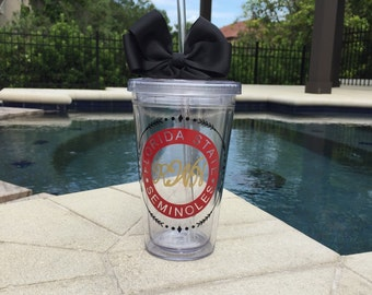Florida State tumbler, custom college decals, customized vinyl decal, personalized sticker, FSU decal, noles tumbler