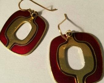 Laurel Burch Cloisonne Dangle Earrings Pierced Red Purple and Gold Tone (LP140)