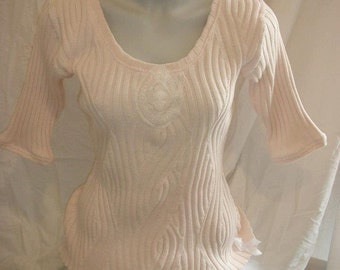 Top woman, sweater cotton knit with applied lace