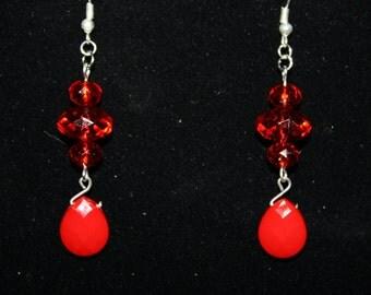 Valentine Red Dangle Earrings Ruby Red Dangle Earrings Teardrop Handmade Boho Gypsy Drop Earrings Handmade Elegant