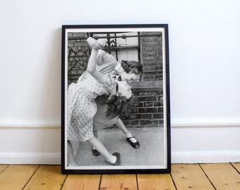 Vintage Photograph Print - Dancing in the Street, 1954