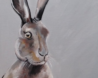 Original Acrylic and Ink Hare Painting
