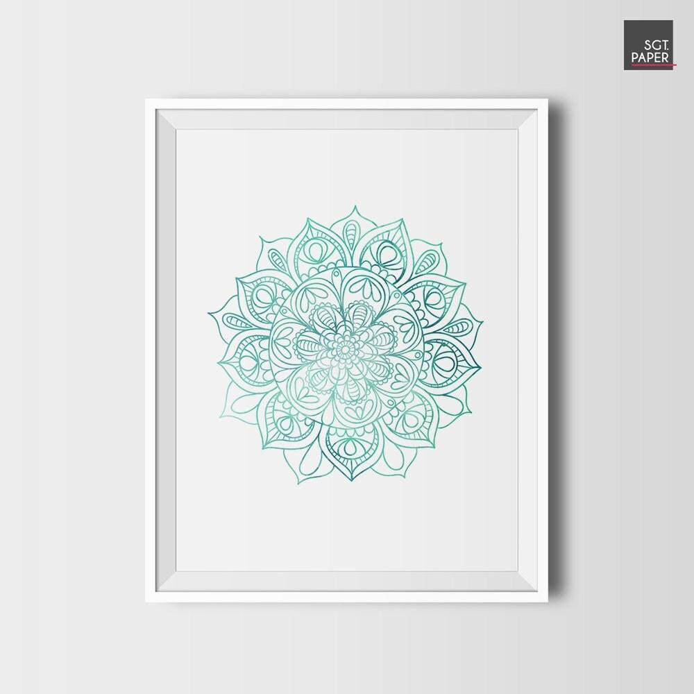 Wall Art Lotus Flower : Mandala wall art lotus flower zen decor printable
