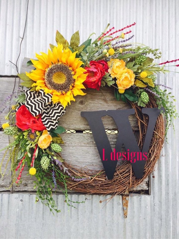 Items similar to front door wreaths spring wreaths for Diy summer wreath