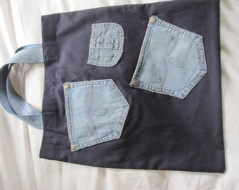 Denim pocket shopping bag