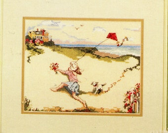 Janesley Originals ** KITES AWAY ** Vintage, Out of Print cross stitch pattern - Molly Flies her Kite and Kites Away Sampler