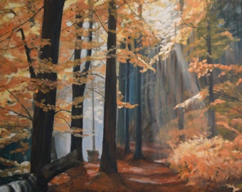 One of a Kind Painting, Oil on Canvas, Forest Landscape, Misterious Lights, Morning in the Forest