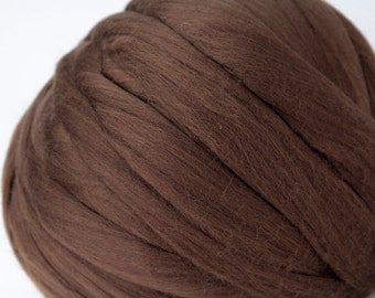 Australian Merino Wool Tops in Chocolate Brown - 5 oz