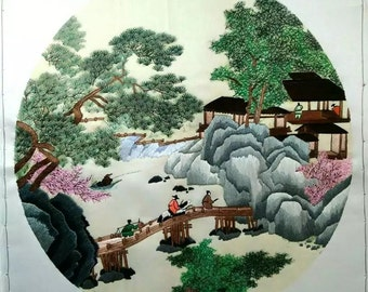 Chinese embroidery:landscape painting by Tang Yin